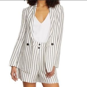 Habitual Edie Striped Linen Double Breasted Blazer